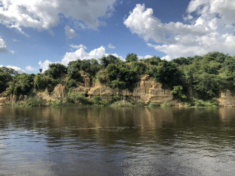 Sandstone cliffs on the Nile bank of Murchison Falls
