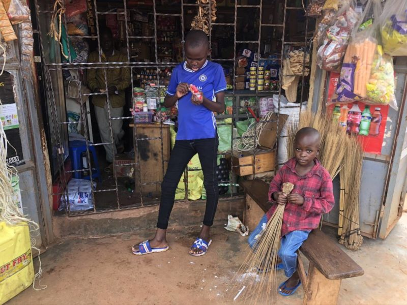 Children in front of a shop in Kazo Kampala